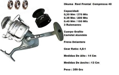 Reel Frontal Okuma Compressa 40 - 0,40 Mm / 150 Mts