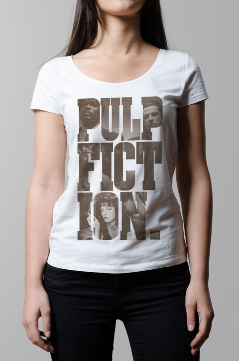 Remera Pul Fiction pelicula blanco mujer