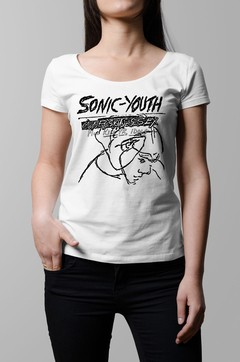 Remera Sonic Youth confusion is sex blanca mujer