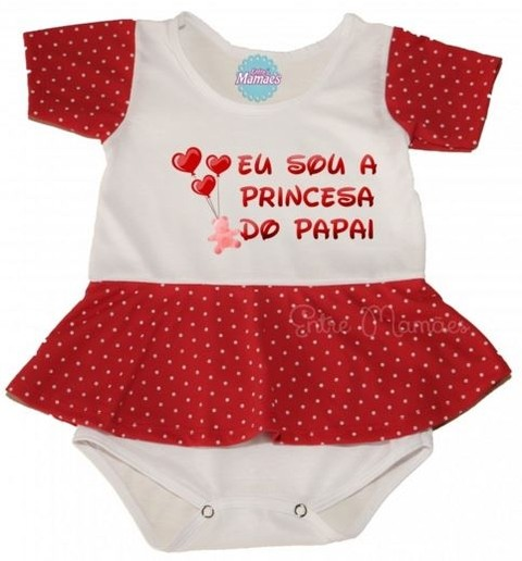 Body com Saia - Eu sou a Princesa do Papai. Pronta Entrega