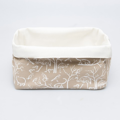 Contenedor mediano beige animal blanco