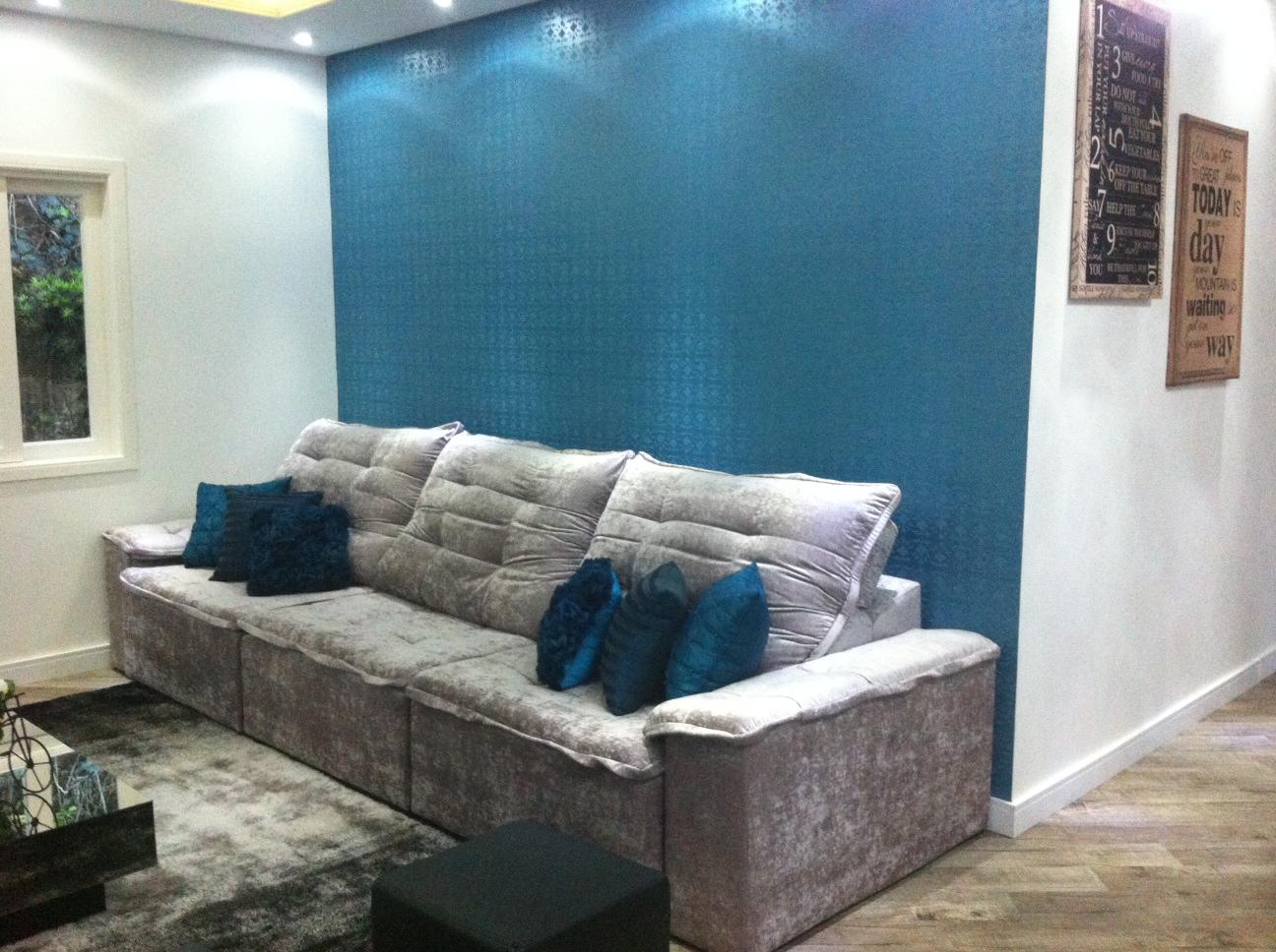 Pruzak Com Sala De Estar Com Parede Azul Id Ias Interessantes  -> Parede Da Sala Listrada Azul Marinho