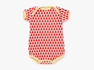 short sleeved bodysuit - red droplets
