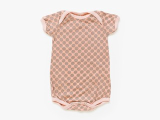 short sleeved bodysuit - cement dots on coral
