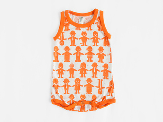 baby sleeveless bodysuit - orange friends