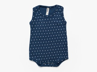 baby sleeveless bodysuit - cement microdots