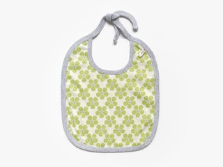 reversible baby bib - olive green pansy / cream