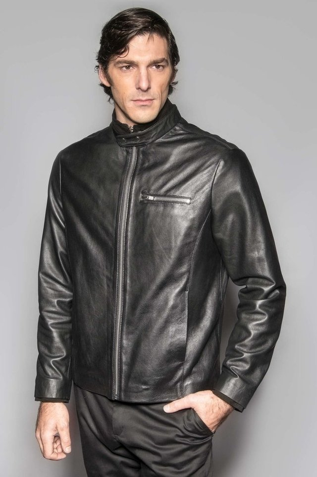 Leather Jacket Neck Black