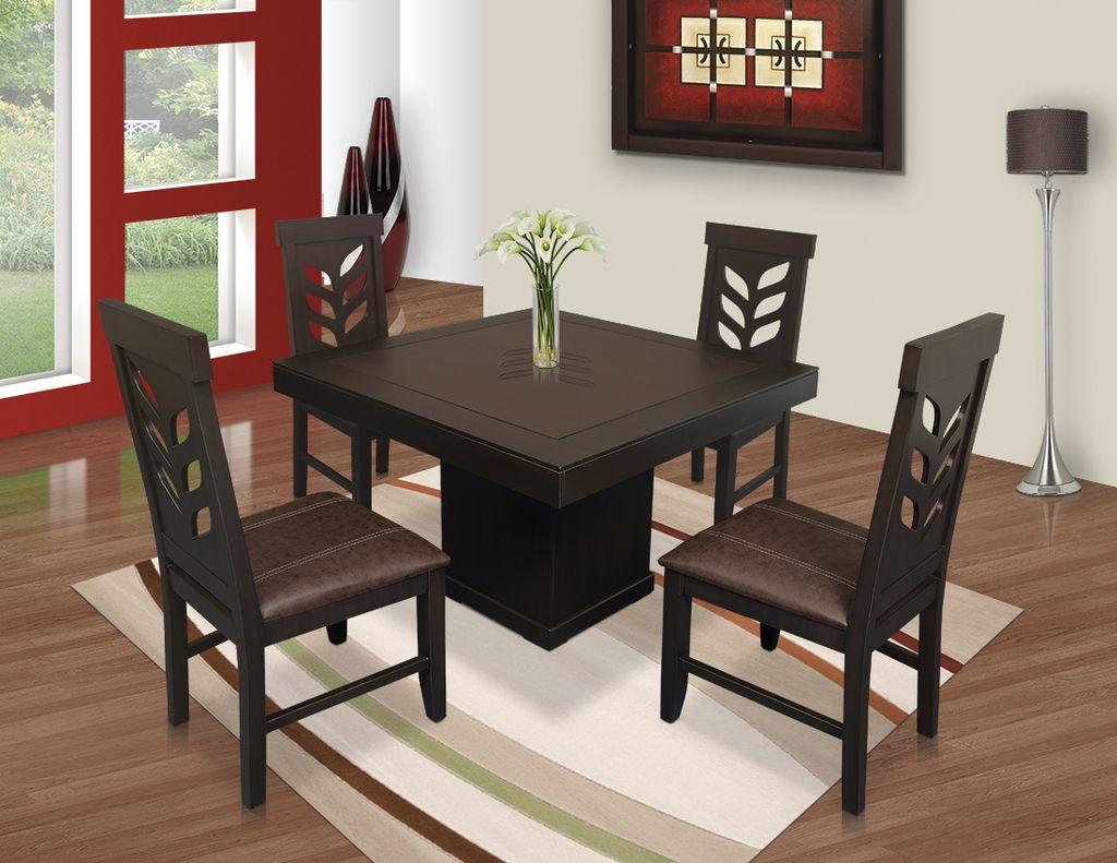Comedor flor cuadrado 4 sillas muebles laffayette - Muebles para comedores ...