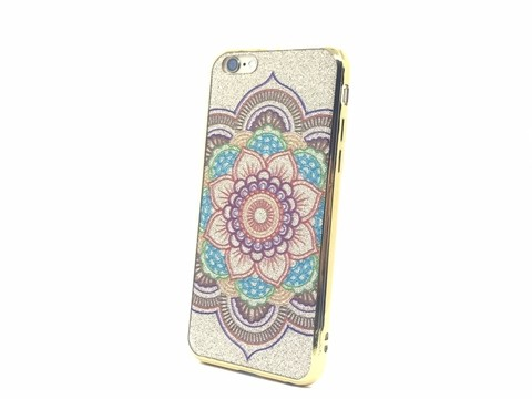 Capa iPhone 6/6s mandala com bordas douradas