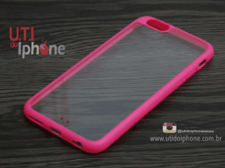 Capa IPhone 6 e Iphone 6s com fundo transparente e borda rosa