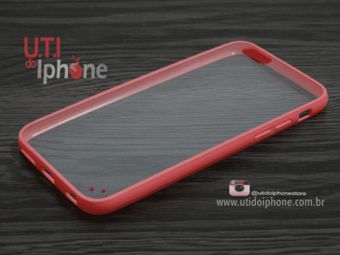 Capa IPhone 6 e iphone 6s com fundo transparente e bordas salmon