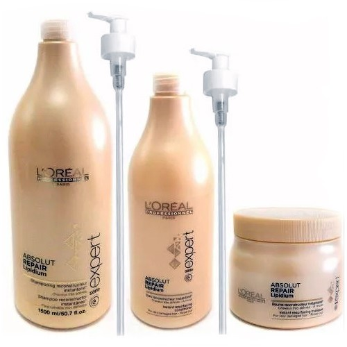 Shampoo x 1500 Ml + Acondicionador x 750 Ml + Máscara x 500 Ml Absolut Repair Lipidium - Loreal Professionnel