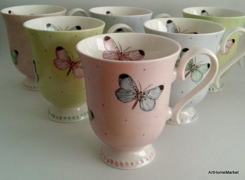 Mug porcelana Butterflies - Art Home Market
