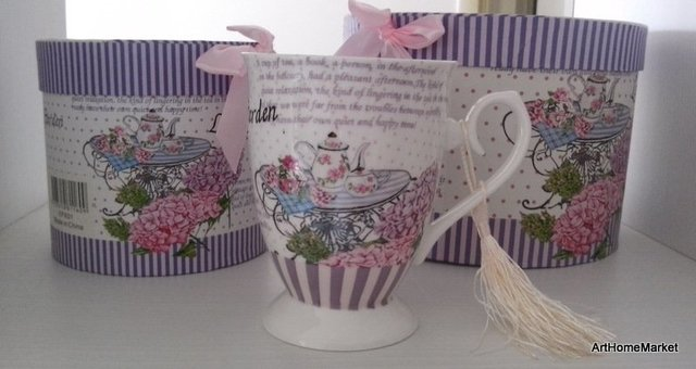 Taza Mug Porcelana Decorada Tea Table con Caja Regalo - comprar online