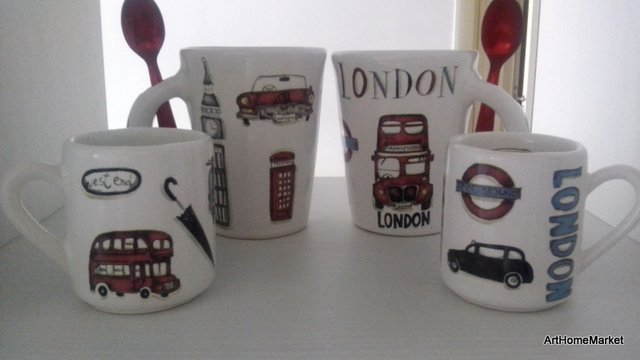 Taza Mug Recta de Cerámica London con cuchara - Art Home Market