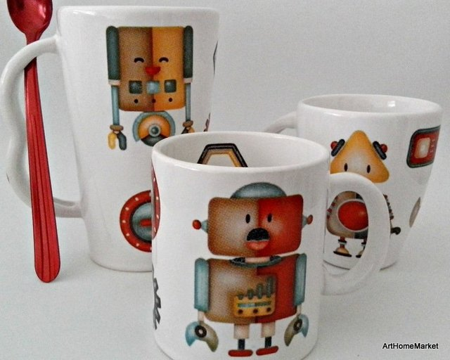 Taza alta Chocolatera diseño Robots con cuchara color - Art Home Market