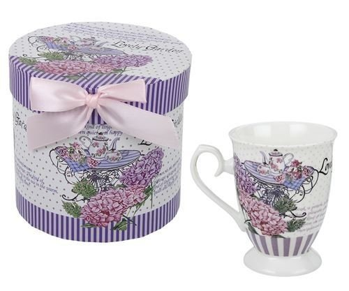 Taza Mug Porcelana Decorada Tea Table con Caja Regalo