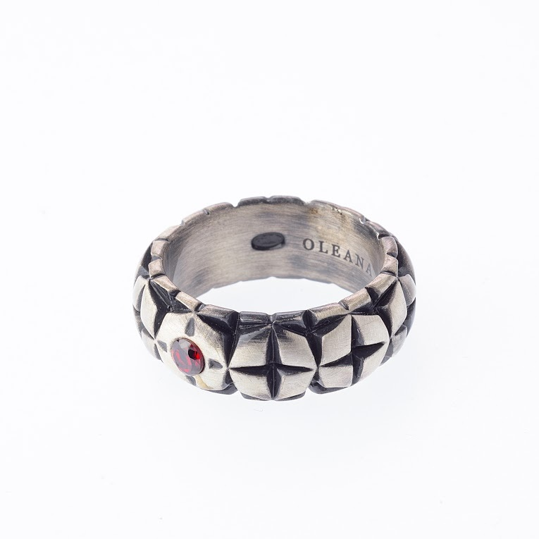 Apostol Ring - Sterling Silver, antique plating and red crystal