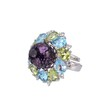 Multicoloured Marigold Ring - Sterling silver with light blue crystal