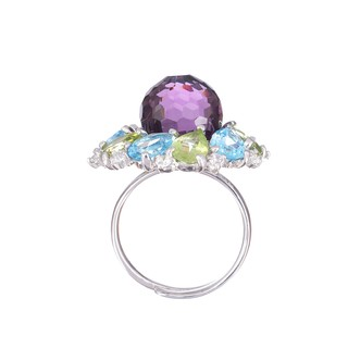 Multicoloured Marigold Ring - Sterling silver with light blue crystal - buy online