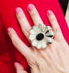 Daisy Ring, sterling silver, mother of pearl and black onyx (copia) - buy online