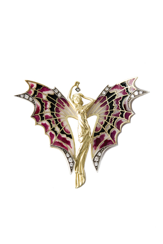 Butterfly Fairy Pendant - 18kt yellow gold, diamonds with pliqué-a-jour enamel technique - buy online