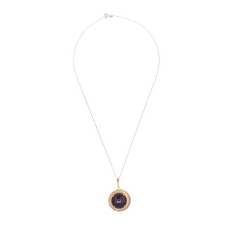 Circle Pendant gold plated sterling silver and violet crystal - buy online