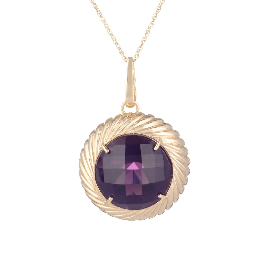 Circle Pendant gold plated sterling silver and violet crystal