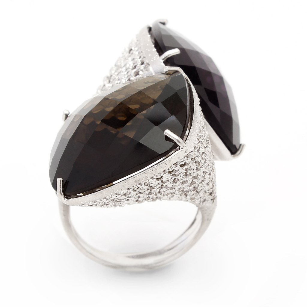 Loop Ring - Diamond dusted sterling silver in color platings with two crystals, amber and black