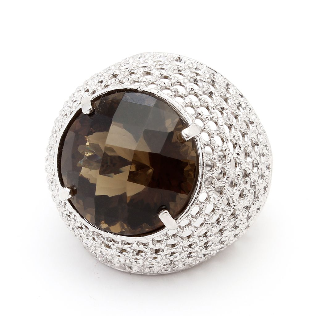 Meteorite Ring - Diamond dusted sterling silver net with fume crystal