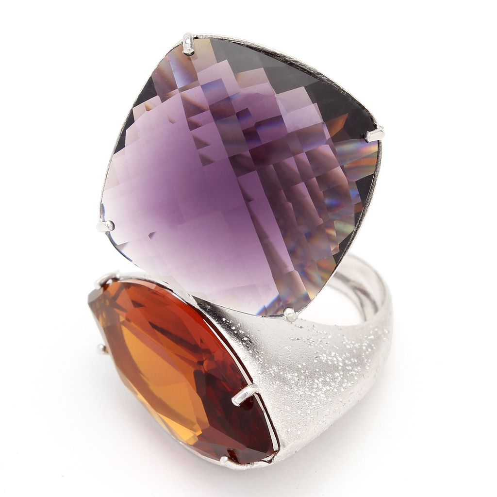 Mistyc Ring sterling silver, violet and champagne crystals