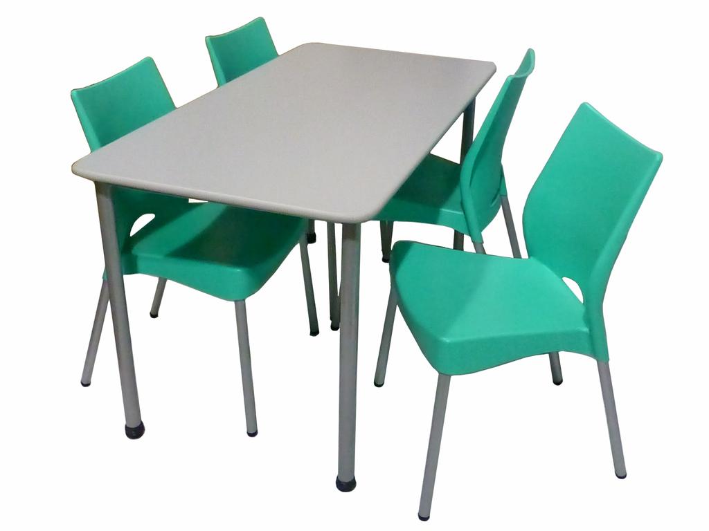 Combo de mesa gourmet y 4 sillas malba for Sillas plasticas comedor