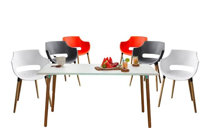 Juego de Comedor CAMELIA WOOD rectangular con seis sillas FRIDA WOOD