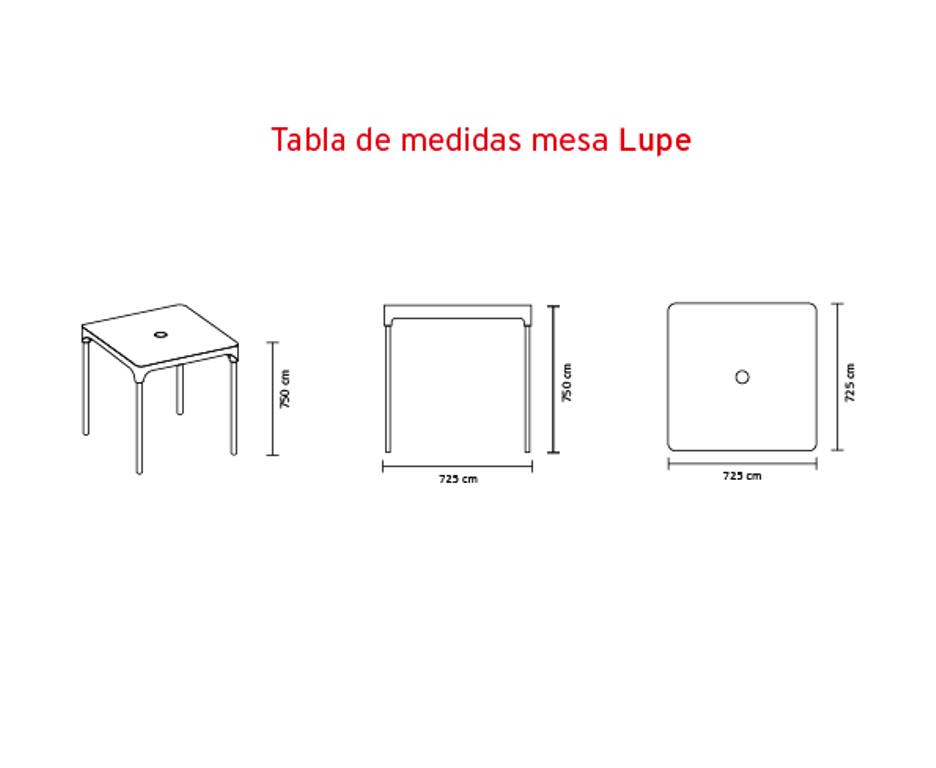 Mesa lupe cuadrada con orificio para sombrilla - Mesa de comedor medidas ...
