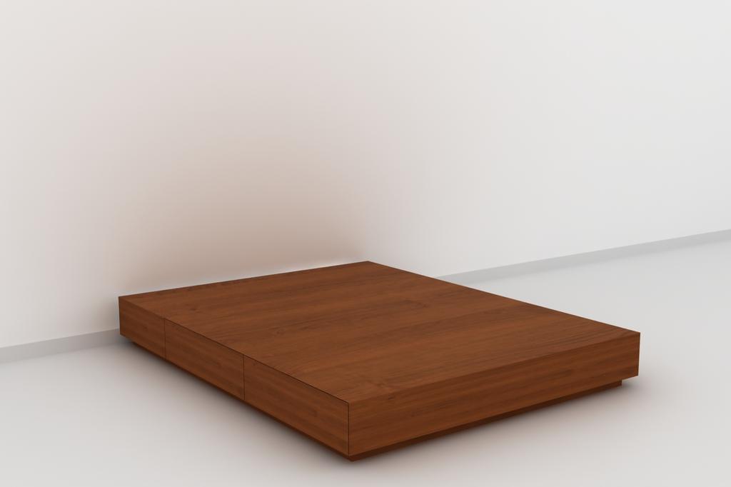 Juego de dormitorio enchapado en madera dise o moderno for Tarimas de madera para cama