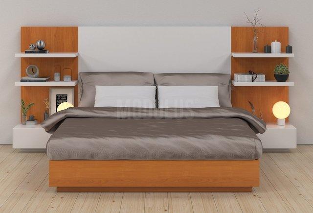 Juego de dormitorio enchapado en madera dise o moderno for Juego de dormitorio montevideo