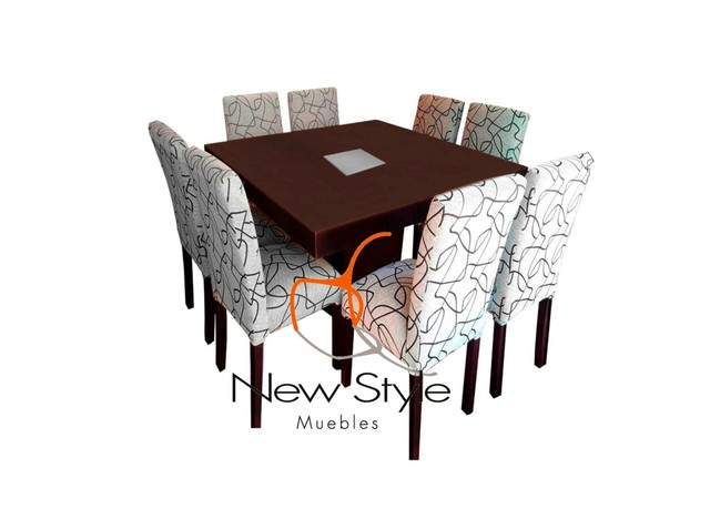Mesa Base Central 8 Sillas Jacquard Newstyle Tigre