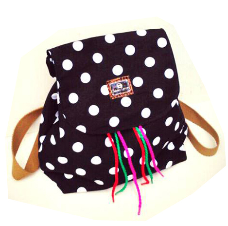 Bag Pack Retro Folk Negro y Lunares