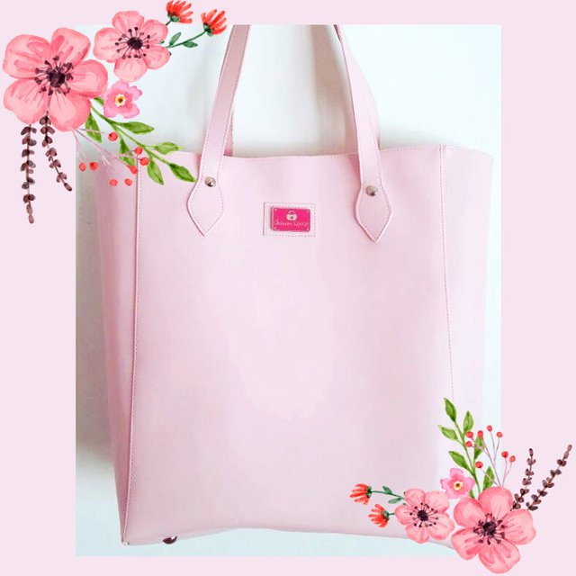 Cartera tote color rosa pastel (35x40cm)