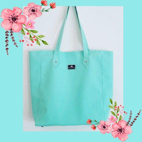 Cartera tote color verde aqua (35x40cm) en internet