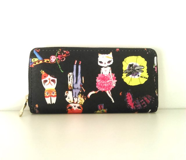 Billetera Gatitos Fashion Color Negro - comprar online
