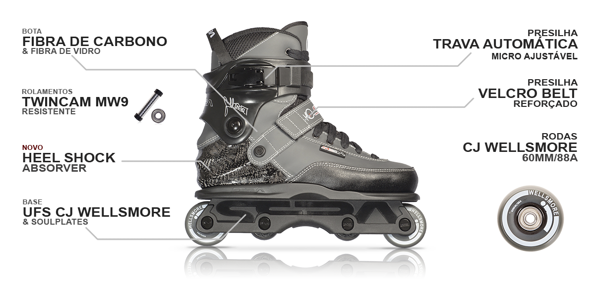 Patins SEBA CJ Wellsmore GREY para Aggressive Street