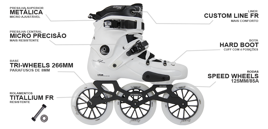 Patins SEBA FR1 White com base de 3 rodas 125mm