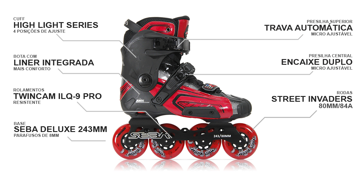 Patins Seba High Light Red - Vermelho