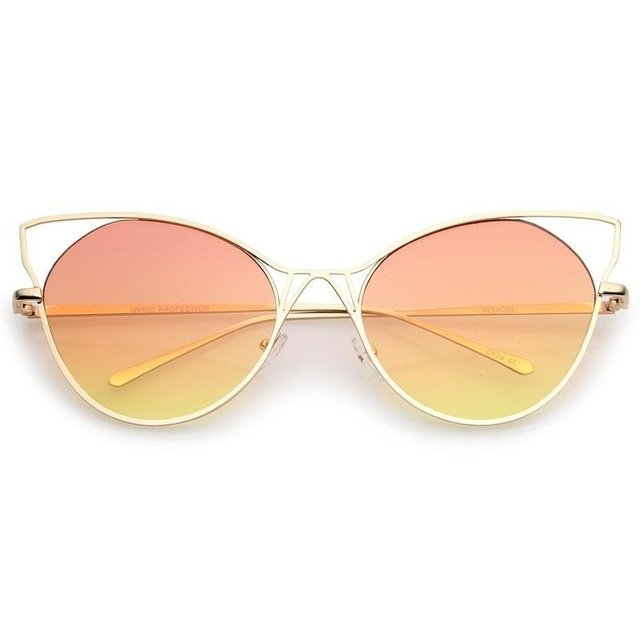 OCULOS DE SOL GATINHO COM LENTE COLORIDA DEGRADE PEACH