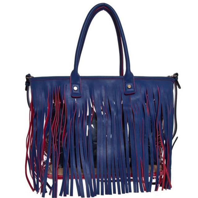 Bolsa Feminina Na Cor Azul : Bolsa feminina isabella piu com franjas na cor azul