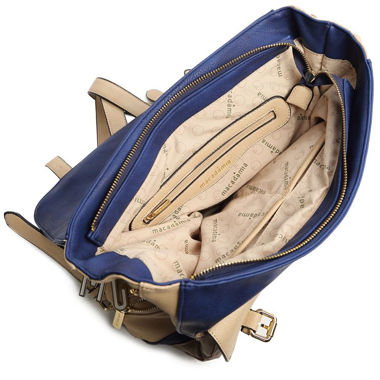 Bolsa Feminina Na Cor Azul : Mochila feminina macadamia mcg e cor azul bege