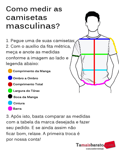 Como medir as camisetas masculinas