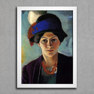 August Macke - Portrait of the Artist's Wife With a Hat - Encadreé Posters